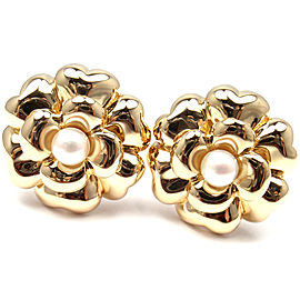Chanel 18K Yellow Gold Simulated Glass Pearl Large Flower Earrings