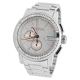 Gucci 101 G-Chrono YA101201 Rose Gold Dial 14.0ct Diamond Mens 44mm Watch
