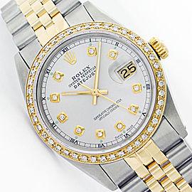 Rolex Datejust 16013 Jubilee Stainless Steel & 18K Yellow Gold White Diamond Watch
