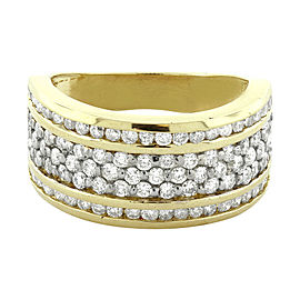 14K Yellow Gold Three Channel Round Diamond Wedding Band