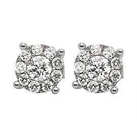 14K White Gold 1.25ct Diamond Stud Illusion Halo Earrings