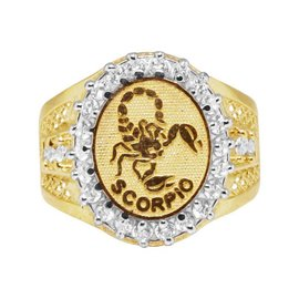 10K Yellow Gold Lab Diamond Scorpio Zodiac Astrology Designer Pinky Ring