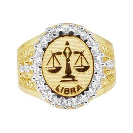 10K Yellow Gold Lab Diamond Libra Scales Zodiac Designer Pinky Ring