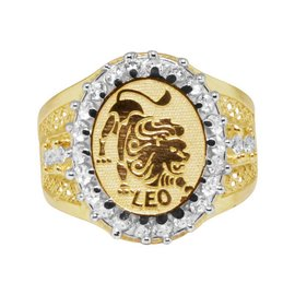 10K Yellow Gold Lab Diamond Leo Lion Lucky Zodiac Designer Pinky Ring