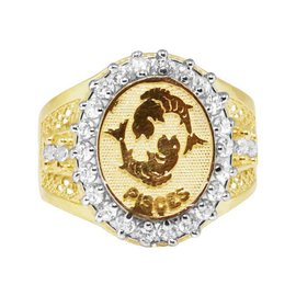 10K Yellow Gold Lab Diamond Pisces Fish Zodiac Designer Pinky Ring