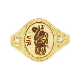 10K Yellow Gold Virgo Symbol Zodiac Astrology Designer Pinky Ring