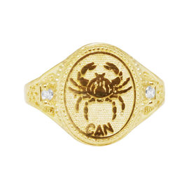 10K Yellow Gold Cancer Lucky Crab Zodiac Astrology Designer Pinky Ring