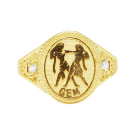 10K Yellow Gold Gemini Twins Sign Zodiac Astrology Designer Pinky Ring
