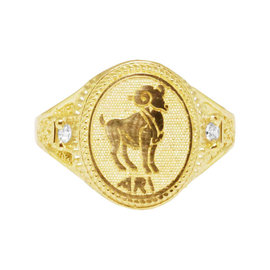 10K Yellow Gold Aries Ram Zodiac Astrology Designer Pinky Ring