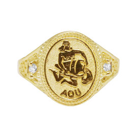 10K Yellow Gold Aquarius Water Zodiac Astrology Designer Pinky Ring