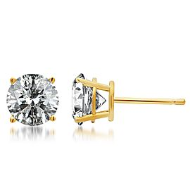 14K Yellow Gold 2ct. Diamond Solitaire Studs Earrings