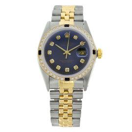 Rolex Datejust 16013 Stainless Steel Blue Diamond Dial & Sapphire 36mm Mens Watch