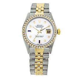Rolex Datejust 16013 White Pearl Dial White Diamonds & Blue Sapphire Mens 36mm Watch