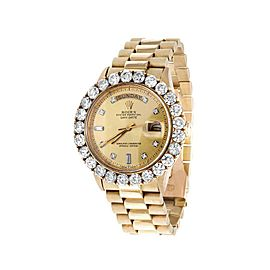 Rolex Presidential Day-Date 1803 18K Yellow Gold Prong Diamond Dial and 7.00 Ct Bezel 40mm Vintage Watch