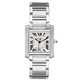 Cartier Tank Francaise Large Steel Automatic Mens Watch W51002Q3 Box