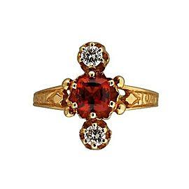 Estate 14k Yellow Gold Orangy Cushion Garnet Brilliant Cut Diamond Ring 1920