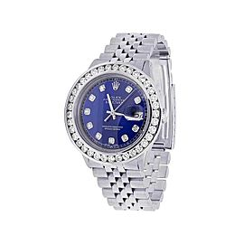 Rolex Datejust 16014 Stainless Steel Jubilee Blue Dial Custom 5.25ct Diamond 36mm Mens Watch