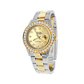 Rolex Datejust 16013 Two Tone 18K/Steel Champagne Dial Custom 5.25ct Diamond 36mm Unisex Watch
