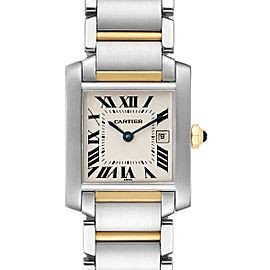Cartier Tank Francaise Midsize Steel Yellow Gold Ladies Watch W51012Q4 Box