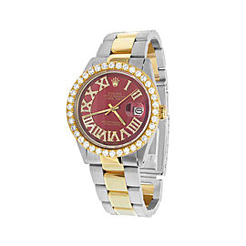 Rolex Datejust 1601 18K Yellow Gold & Stainless Steel Red Dial 36mm Mens Watch