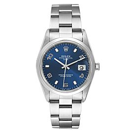 Rolex Date Blue Dial Oyster Bracelet Steel Mens Watch 15200