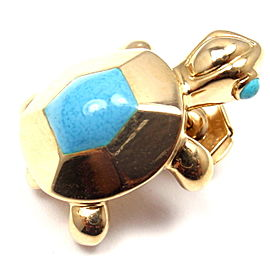 Cartier 18k Yellow Gold Turquoise Turtle Tie Lapel Pin