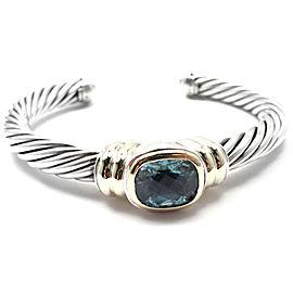 D.Yurman NOBLESSE 14k YG Sterling Silver Blue Topaz Bangle Bracelet