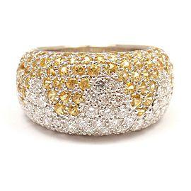 Chopard 18k White Gold Yellow Sapphire Diamond Wave Wide Band Ring
