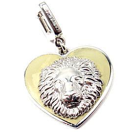 LOUIS VUITTON 18K WHITE GOLD BE WELL LION SAPPHIRE ENAMEL CHARM PENDANT