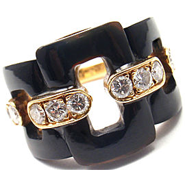 VAN CLEEF & ARPELS 18k Yellow Gold Diamond Black Onyx Ring