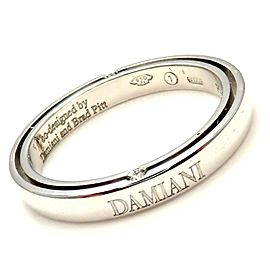 Damiani Brad Pitt Platinum 4 Diamond 3mm Band Ring Sz 8.25