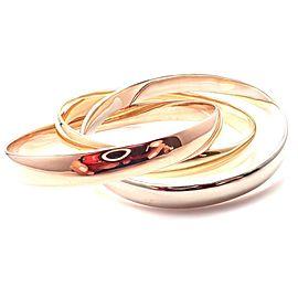 CARTIER 18k Tri-Color Gold Wide Large Size Trinity Bangle Bracelet