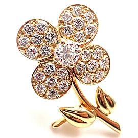 Van Cleef & Arpels Diamond 18k Yellow Gold Flower Pin Brooch