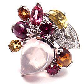 CARTIER Sorbet 18k Gold Diamond Pink Quartz Tourmaline Large Ring