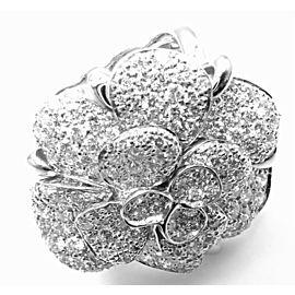 Chanel Camelia Camellia FLower 18k White Gold Diamond Large Ring