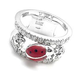 Aaron Basha 18k White Gold Diamond Red Enamel Ladybug Band Ring
