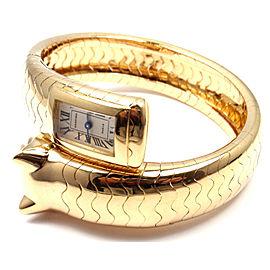 Cartier Panther Panthere 18k Yellow Gold Emerald Bangle Bracelet Watch