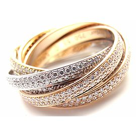 Cartier Diamond Three Color 18k Gold Two For Trinity Six Band Ring