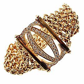 Cartier Penelope 18k Yellow Gold Diamond Double C 5 Row Link Bracelet