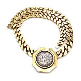 Bvlgari Bulgari 18k Gold 1652 MA Pine Tree Shilling Coin Link Necklace