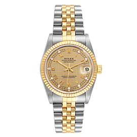 Rolex Datejust Midsize 31mm Steel Yellow Gold Diamond Ladies Watch 68273