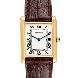 Cartier Tank Classic Paris Brown Strap 18k Yellow Gold Unisex Watch