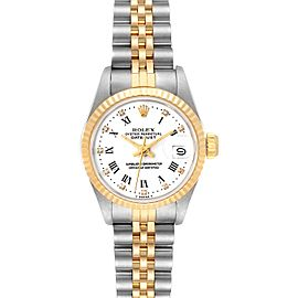 Rolex Datejust Steel Yellow Gold Roman Diamond Dial Ladies Watch 69173 Box