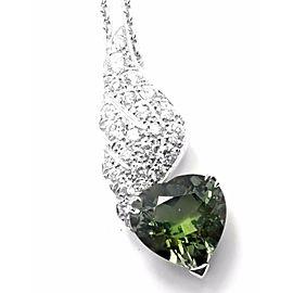 Piaget 18k White Gold Diamond Peridot Heart Pendant Necklace