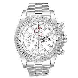 Breitling Super Avenger White Dial Chronograph Steel Mens Watch A13370 Box Card