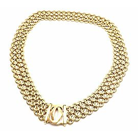 Authentic! Cartier Penelope 18k Yellow Gold Double C Three Row Link Necklace