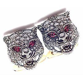 Gucci Le Marché des Merveilles 18k Gold Diamond Ruby Tiger Head Cufflinks Box