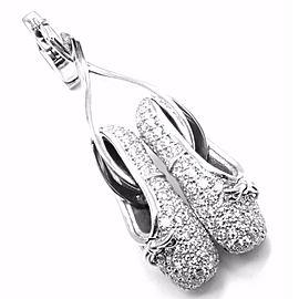 Rare! Authentic Louis Vuitton 18k White Gold Diamond Ballet Shoes Charm Pendant