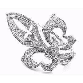 Loree Rodkin 18k White Gold Diamond Fleur De Lis Ring Cert.