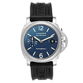 Panerai Luminor Marina Blue Dial Rubber Strap Mens Watch PAM00070